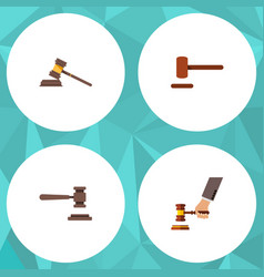 flat icon hammer set of court defense crime and vector image