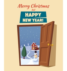 Open door Winter landscape Cartoon vector image vector image