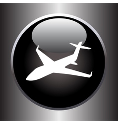 Plane silhouette on black button vector image vector image