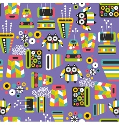 Seamless pattern with owls and vases vector image vector image