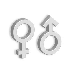 3d male and female symbols with shadow on the wall vector image