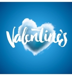 Beautiful heart cloud love for Valentines day vector image