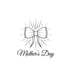 mother s day card with bow and ribbon vector image