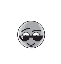 smiling cartoon face wear sunglasses positive vector image vector image