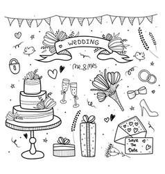 wedding set doodle hand drawn stylehearts vector image
