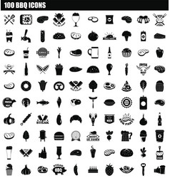 100 bbq icon set simple style vector
