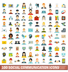 100 social communication icons set flat style vector image
