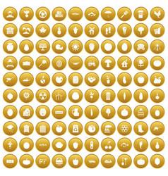 100 vitamins icons set gold vector