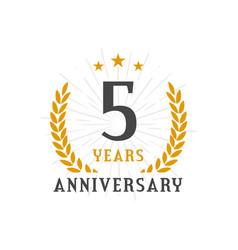 5 years anniversary golden laurel wreath logo vector