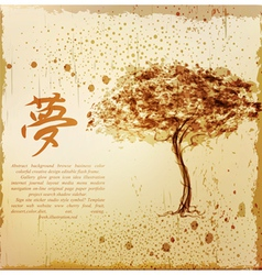 a tree and a character in the Japanese style vector image