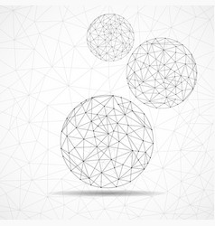 abstract wireframe globes network connections vector image