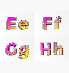 alphabet set letters e f g h font gradient color vector image