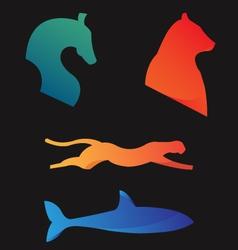Animals Horse Cheetah Bear Shark vector