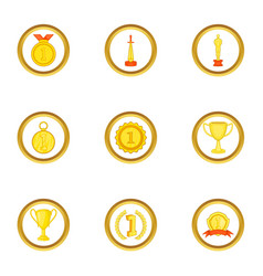 Awards icons set cartoon style vector