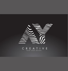 Ay a y letters logo design with fingerprint black vector