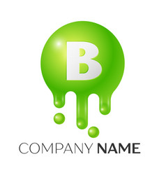 B letter splash green dots and bubbles letter vector