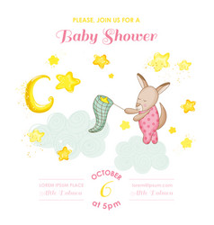 Baby shower card kangaroo girl catching stars vector