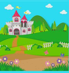 Background scene with castle towers in the field vector