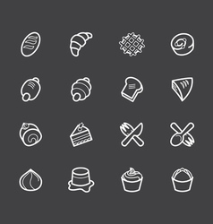 Bakery popular white icon set on black background vector