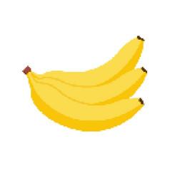 banana pixel icon banana yellow icon vector image