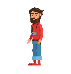 bearded hipster man with camera cartoon character vector image
