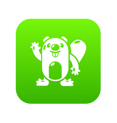 beaver icon green vector image