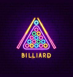 billiard neon label vector image