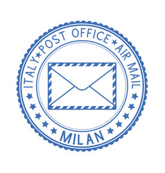 Blue postal stamp milan italy postmark vector