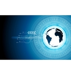Blue tech background with globe and binary code vector image
