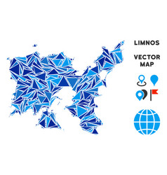 Blue triangle limnos greek island map vector