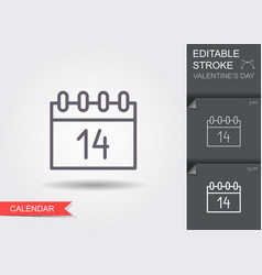 calendar icon 14 february valentines day line vector image