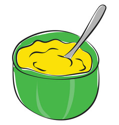 Cartoon giant green bowl filled with mashed vector