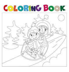 Children on the sled coloring book vector