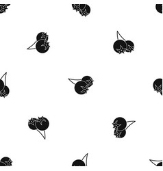 Chokeberry or aronia berry pattern seamless black vector