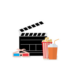 cinema design movie with popcorn water glasses vector image