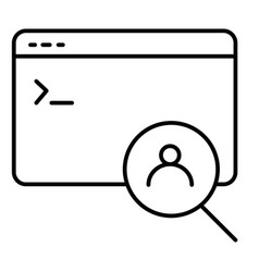 Computer window and user search thin line icon vector