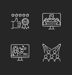 Corporate identity chalk white icons set on black vector