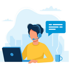 customer service man with headphones and vector image