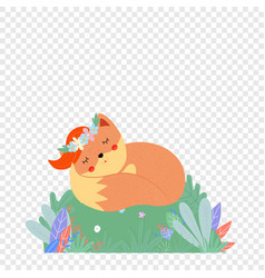 Cute fox in flower wreath sleep on green field vector