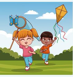 Cute kids having fun vector