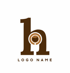 dark brown h initial letter with coffee cup vector image