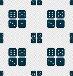 Dices icon sign Seamless pattern with geometric vector image