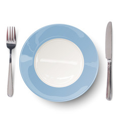 Empty blue plate with knife and fork vector