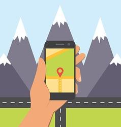 Flat design concept for mobile GPS navigation vector image