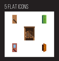 Flat icon door set of frame entry door and other vector