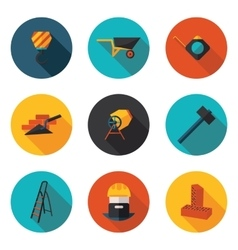 flat icons construction walls vector image