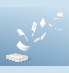 Flying white paper sheets from stack documents vector
