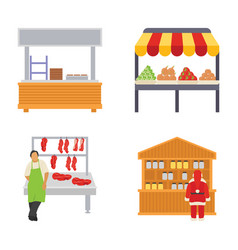 Food stalls flat icons vector