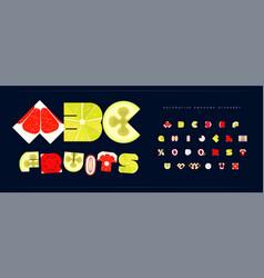 Fresh fruit font for logo tropical fruity vector