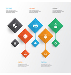 Gadget icons set collection of tree programmer vector